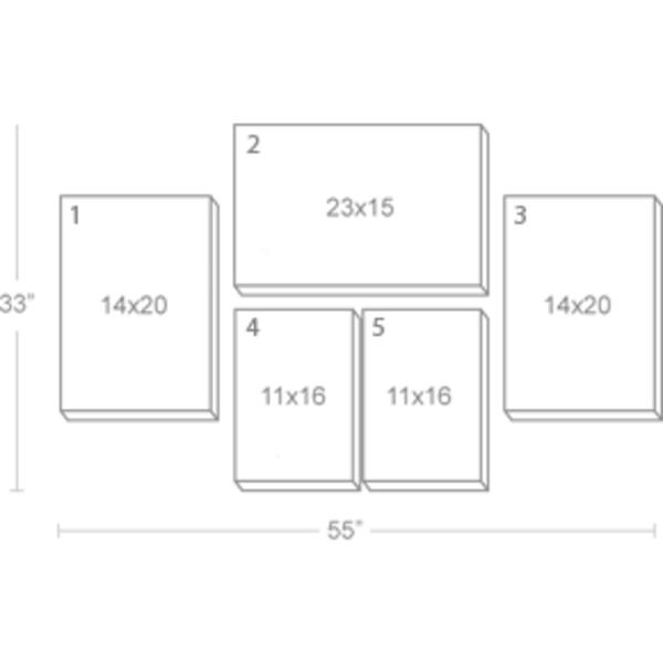 Express Canvas: Custom 55X33 5-Piece Canvas Print Wall Display Cluster