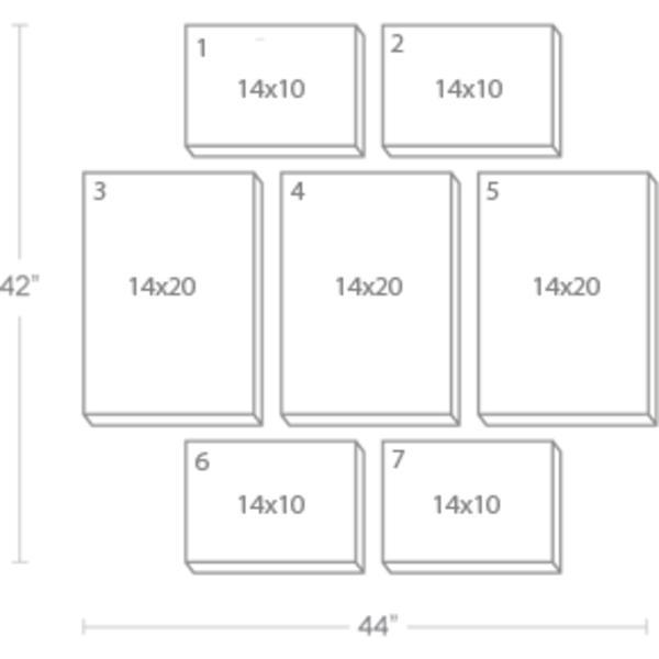 Express Canvas: Custom 44X42 7-Piece Canvas Print Wall Display Cluster