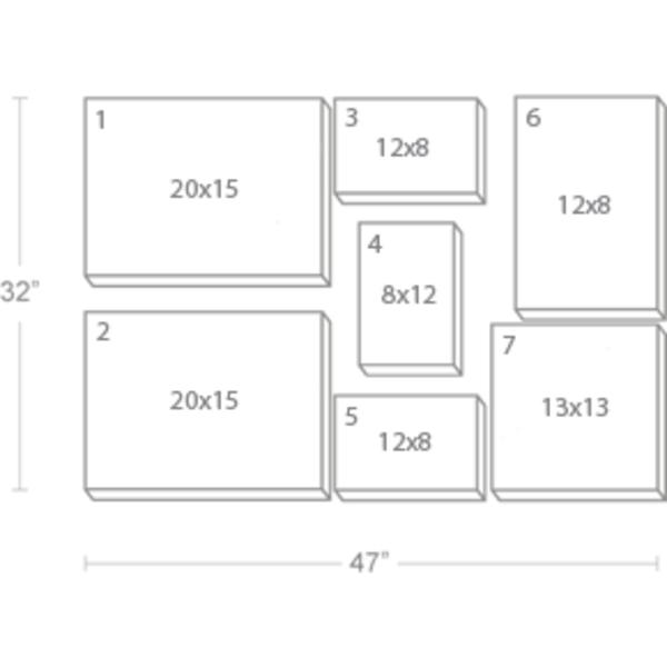 Express Canvas: Custom 47X32 7-Piece Canvas Print Wall Display Cluster