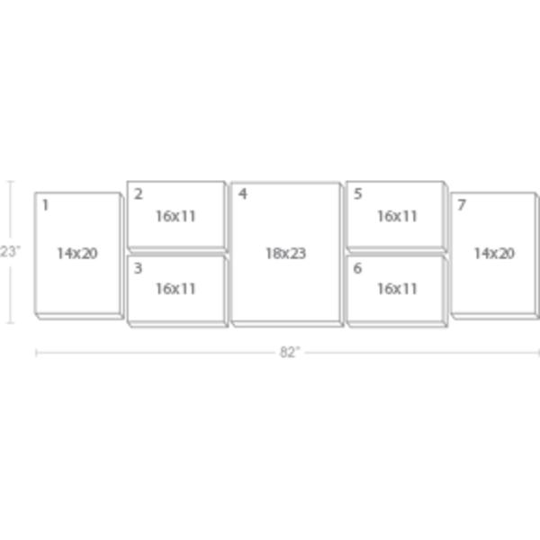 Express Canvas: Custom 82X23 7-Piece Canvas Print Wall Display Cluster