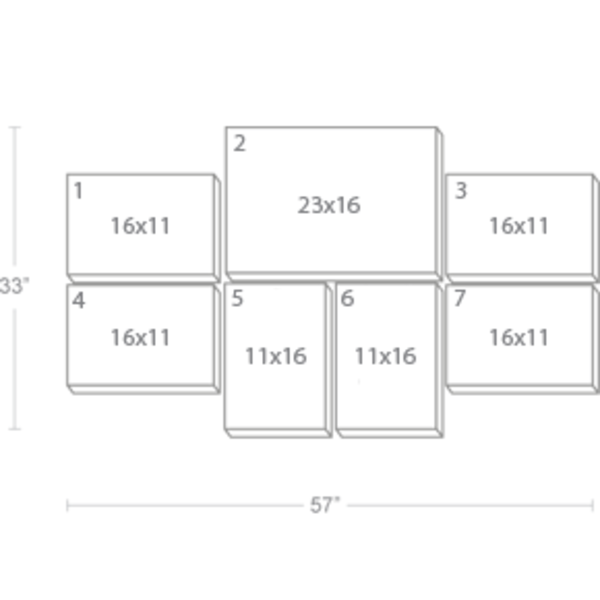 Express Canvas: Custom 57X33 7-Piece Canvas Print Wall Display Cluster