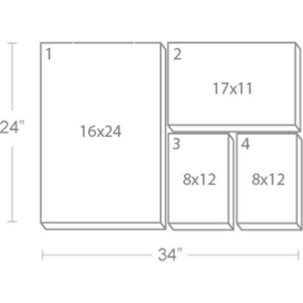 Express Canvas: Custom 34X24 4-Piece Canvas Print Wall Display Cluster