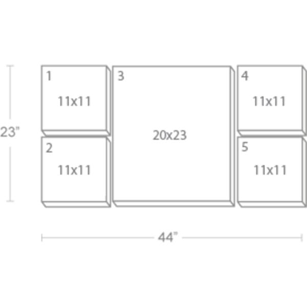 Express Canvas: Custom 44X23 5-Piece Canvas Print Wall Display Cluster