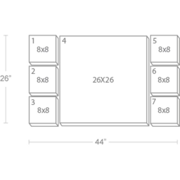 Express Canvas: Custom 44X26 7-Piece Canvas Print Wall Display Cluster