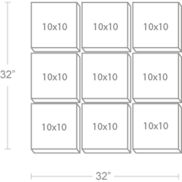 Express Canvas: Custom 32X32 9-Piece Canvas Print Wall Display Cluster