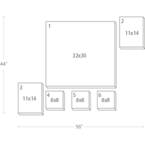 Express Canvas: Custom 56X44 6-Piece Canvas Print Wall Display Cluster