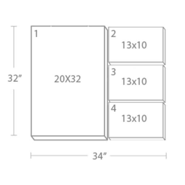 Express Canvas: Custom 34X32 4-Piece Canvas Print Wall Display Cluster