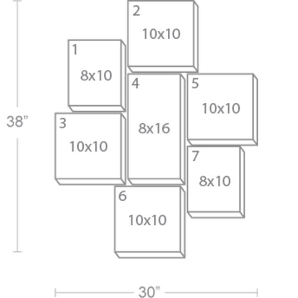 Express Canvas: Custom 30X38 7-Piece Canvas Print Wall Display Cluster