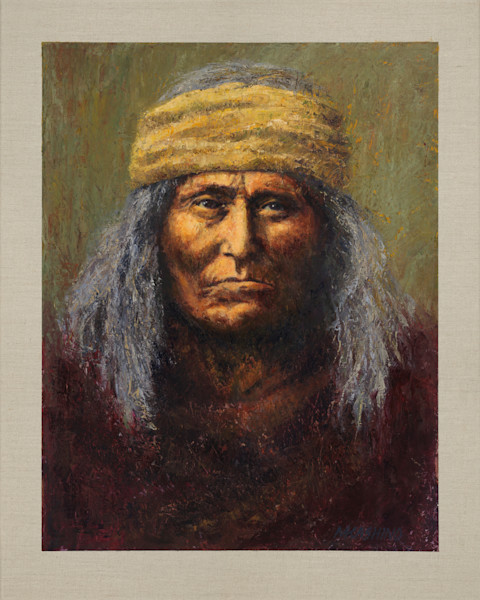 Geronimo, Chiricahua Apache, Native Americans, American Indians, Portraits, Oil Paintings, Mark Kashino