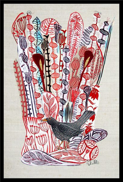 linocut hand printed fabric collage with blackbird and red flowers and berries, by Printmaker Mariann Johansen-Ellis, art, paintings