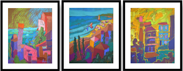 Colorful Wall Art Grouping, Abstract Coastal Village Paintings by Dorothy Fagan