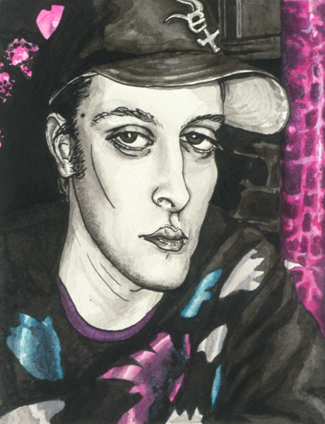 Ink painting of a man in New York Art by Claire K. Stringer