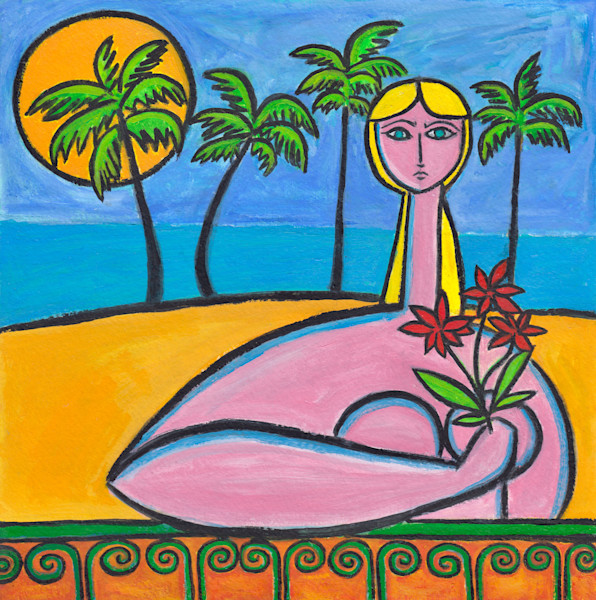 Beachside with Red Flowers Painting by Paul Zepeda Available from Wet Paint NYC - Eco-Friendly Prints on Canvas, Paper, Metal and Acrylic