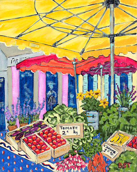 Market Day in Vaison-la-Romaine fine art print by Barb Timmerman.