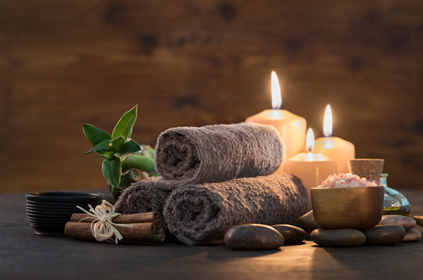Beauty spa treatment with candles