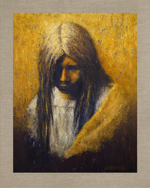 Zosh Clishn Apache Girl, Native American Portrait, Oil Painting by Mark Kashino