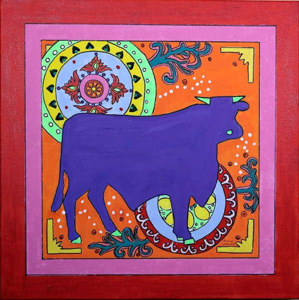 Mexican Folk Art Bull, Original Painting of a Bull, Fine Art and Paintings for Sale by Teena Stewart of Serendipitini Studio