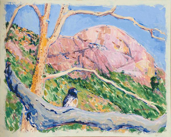 Moro Rock With Red Headed Woodpecker Art by Joy Collier's California Landscape Art