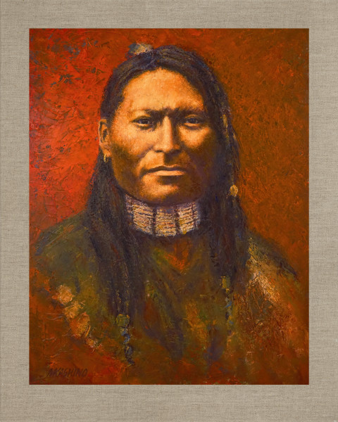 Red Sleeve Dakota Sioux, Native Americans, American Indians, Portraits, Oil Paintings, Mark Kashino