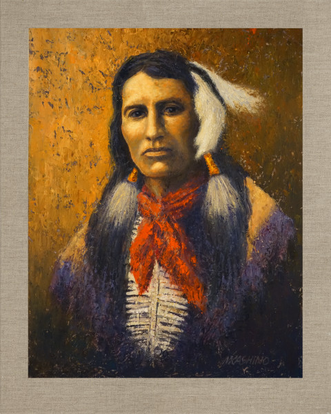 Yellow Shirt Cheyenne, Native Americans, American Indians, Portraits, Oil Paintings, Mark Kashino