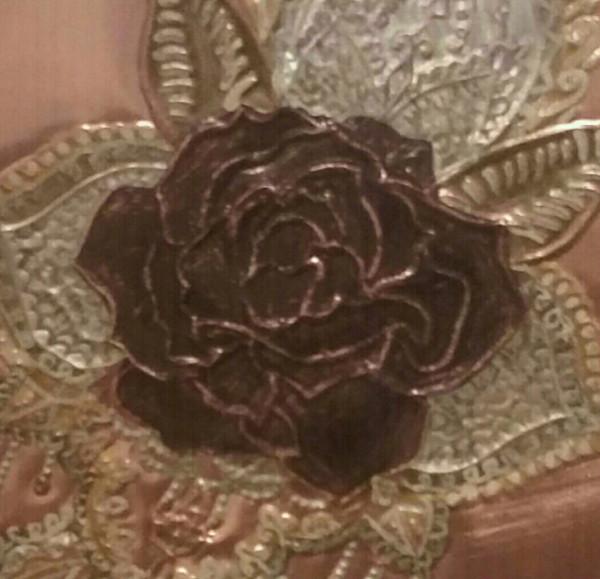 Vintage Rose Repoussé in pure copper art decór.