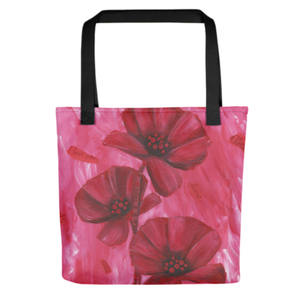 Stylish, colorful tote bags with original artwork of Poppy Love by Mary Anne Hjelmfelt printed on them.