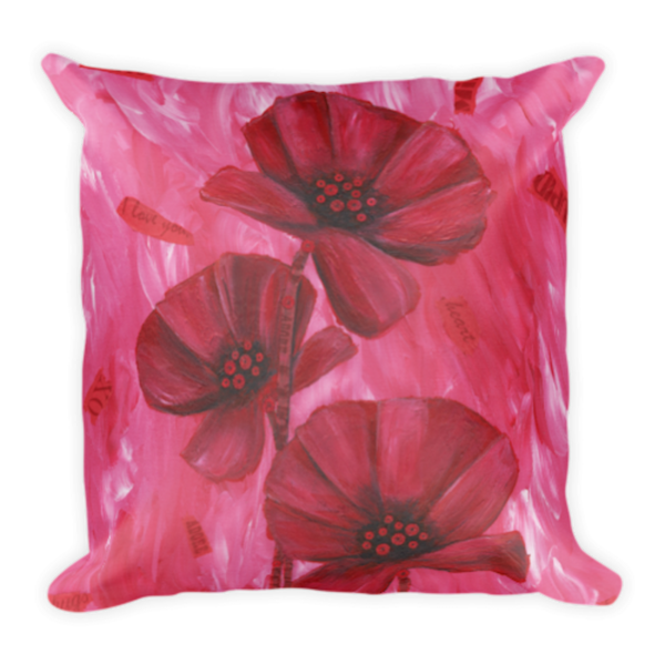 Colorful, soft pillow printed with original artwork of Poppy Love by Mary Anne Hjelmfelt.