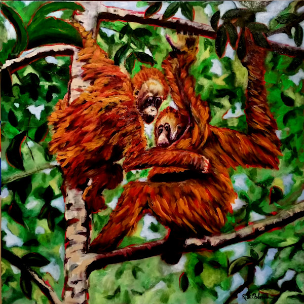 Hanging Orangutans In a Tropical Tree | Fine Art Painting by Rick Osborn