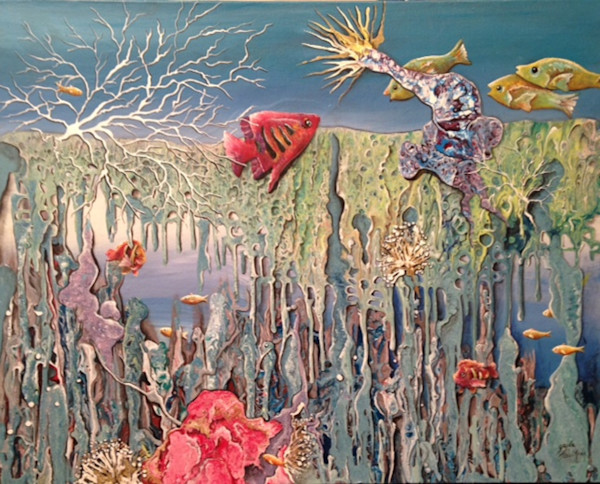 Gayle Faulkner's Oceanic Jewels showcases a portion of the coral reef.  Always full of color and movement, the reef is magical.