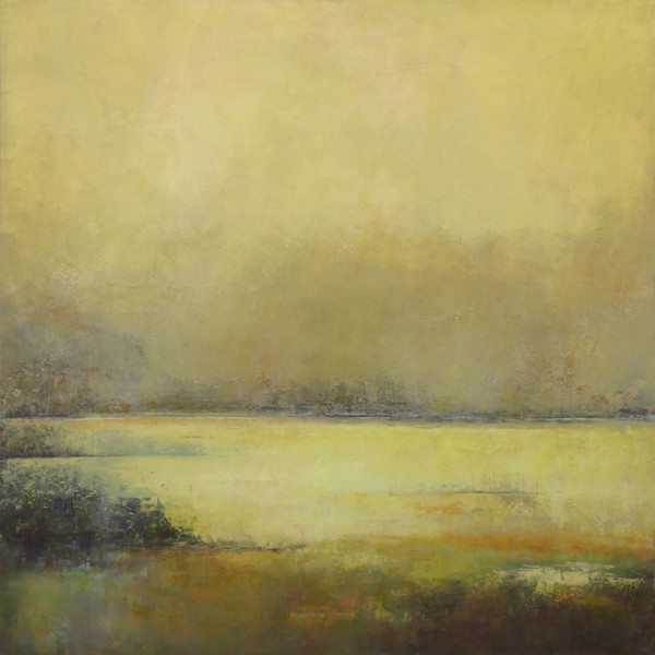 Chardonnay Bay - Abstract Landscape Painting - Yellow Wall Art