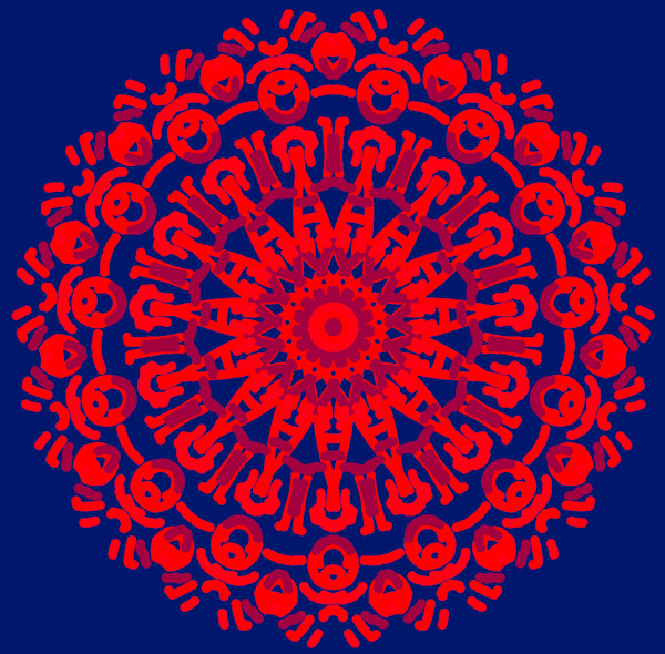 Red Vibe Mandala. Re-Charge with this Wall Art Print.