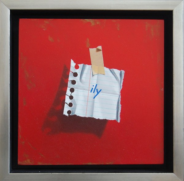 """Love Notes - ILY (Red) 8"""" x 8"""" framed oil on panel painting by Otto Duecker."""