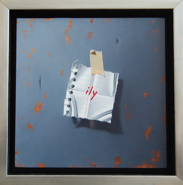 """Love Notes - ILY (Gray) 8"""" x 8"""" framed original, oil on panel painting by Otto Duecker."""
