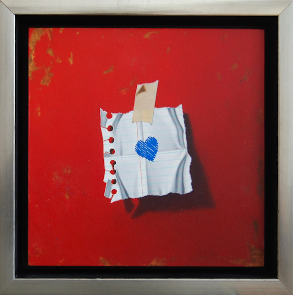 """Love Notes - Heart (Red) 8"""" x 8"""" framed, original painting by Otto Duecker."""