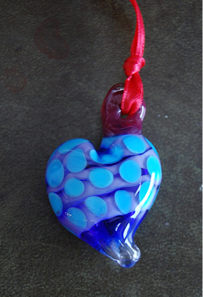 Glass Heart Necklace - Purple with Blue Polka Dots, by glass jewelry artists Sage and Tom Holland.
