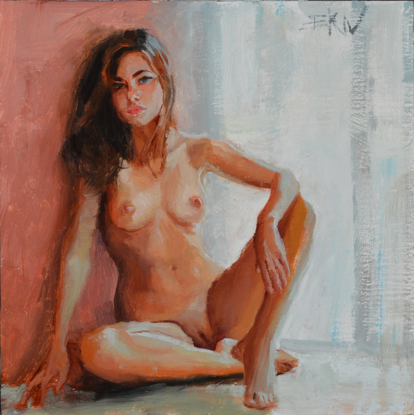 "Giclee print of a nude by Eric Wallis titled, ""Seated."""