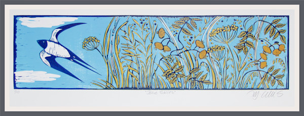 linocut reduction print in blue and yellow with a swallow and flowers by Mariann Johansen-Ellis, art, paintings