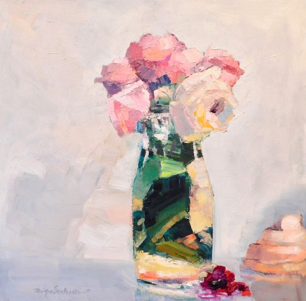 """Together Still Life With Pink Roses Red Camellia and Strawberry Meringue NK, Oil and Mixed Media on Panel, 24""""x24"""""""
