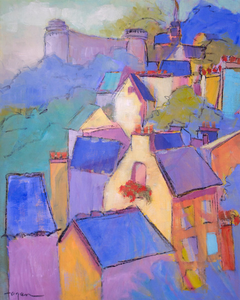 Colorful French Street Scene Art Prints Canvas Painting Cascading Dreams I by Dorothy Fagan