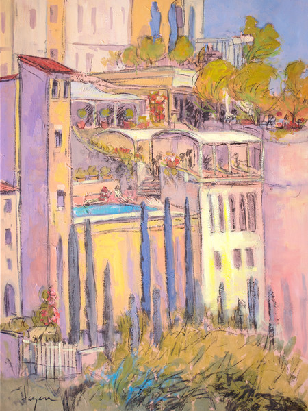 French Village Painting Art Print, Rooftop Garden Party by Dorothy Fagan