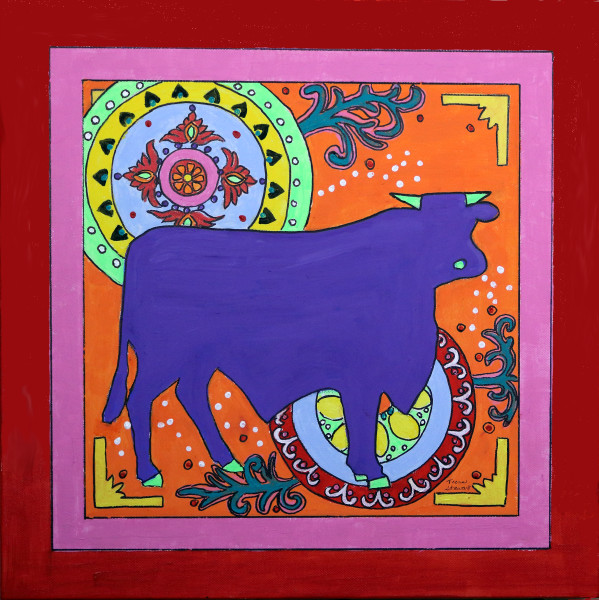 Mexican Folk Art Bull, Art Print, Fine Art and Paintings for Sale by Teena Stewart of Serendipitini Studio