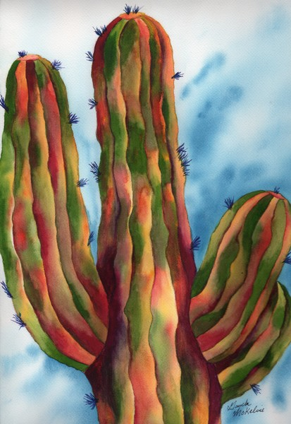 Vivid & Majestic Saguaro Cactus Art by Gayela's Premiere Watercolors|Main Store