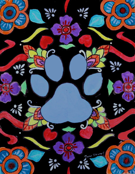 Dog Paw Print, Original Painting of a Dog Paw Print, Fine Art and Paintings for Sale by Teena Stewart of Serendipitini Studio