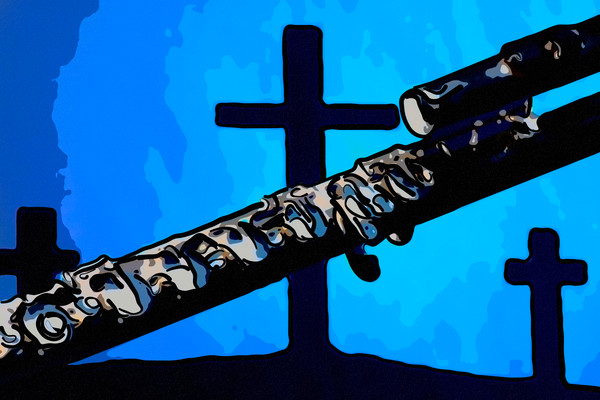 Flute and Crosses Painting 8001.312
