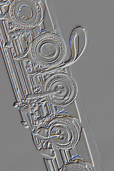 Flute G Key Metal Print Embossed Art 8001.411