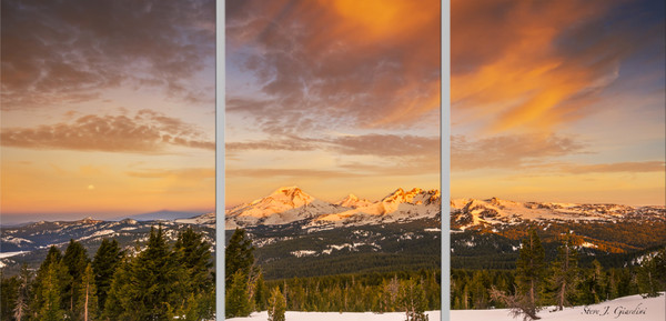 Cascade Sunrise Moonset (1810111LNND8) Mountain Triptych Photograph for Sale as Fine Art Print
