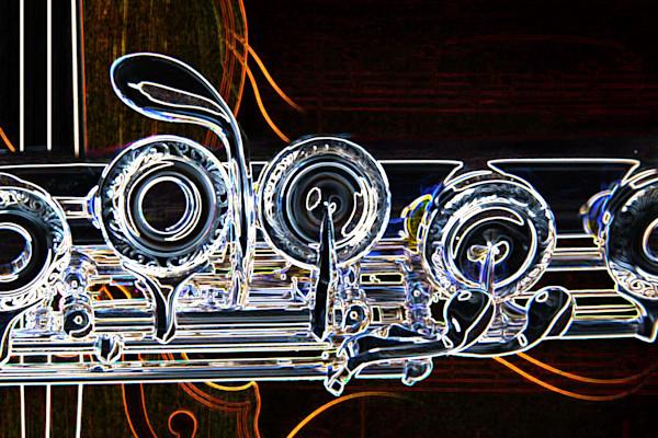 Flute Dark Musical Art Drawing 8001.515