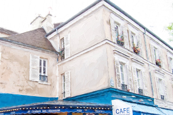 Very French Fantastic Style Building with Blue Awning