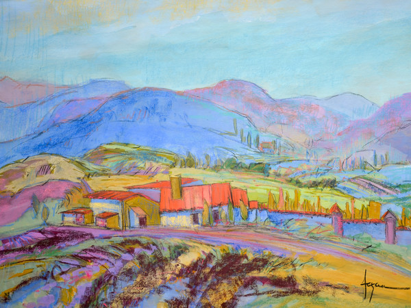 Colorful Contemporary French Landscape Art Print on Canvas, Le Mas Lavande by Dorothy Fagan
