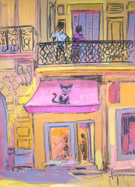 Colorful French Street Scene Art Print, In the Pink by Dorothy Fagan